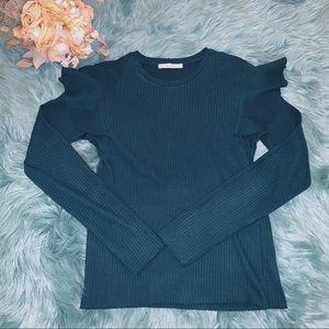 Zara Ruffled Shoulder Sweater